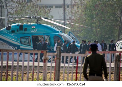 17-11-2019 Bhopal, M.P, India Congress leader coming out from chopper in cm kamal nath oath ceremony Jamburi Ground bhopal