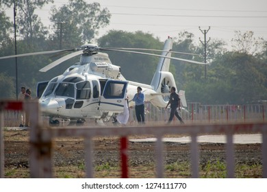 17-11-2019 Bhopal, M.P, India leaders coming out from chopper in cm kamal nath oath ceremony Jamburi Ground bhopal