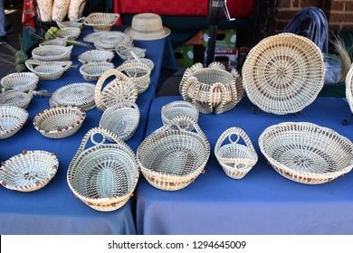 1/7/19 Charleston South Carolina Handmade baskets made from sweetgrass at the Charleston Market