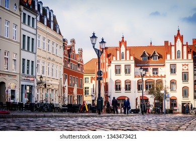 Wismar,Germany-März 17,2019: At the historic market in Wismar, Wismar is one of the oldest Hanseatic towns in Northern Germany