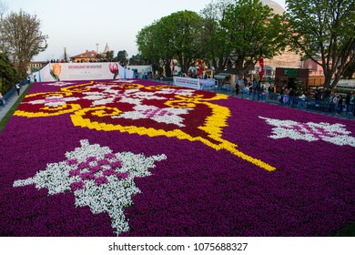 1,734 square-meter tulip carpet in Turkey's Istanbul is made of 565,000 tulips in different colors and creates a traditional Turkish carpet motif in Sultanahmet Square on April 17, 2018