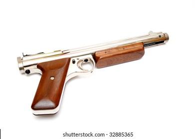 A .177 caliber pellet gun also known as an air gun on a light colored background.