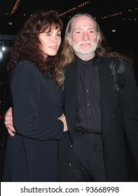 "17DEC97:  Singer WILLIE NELSON & wife at premiere of  ""Wag the Dog"" in Los Angeles."