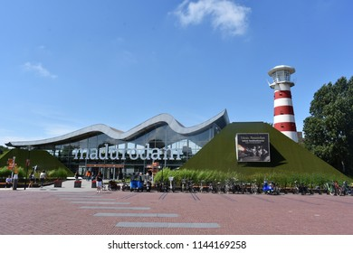 17-July 2018. Miniature attraction park Madurodam in The Hague, Netherlands, South Holland, Europe. Entrance to the Madurodam Park.