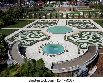 """17-July 2018. Miniature attraction park Madurodam in The Hague, Netherlands, South Holland, Europe. Garden from Royal palace """"Het Loo"""" , Apeldoorn."""