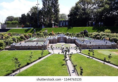 """17-July 2018. Miniature attraction park Madurodam in The Hague, Netherlands, South Holland, Europe. Miniature of Royal Palace """"Het Loo"""" and gardens, Apeldoorn."""