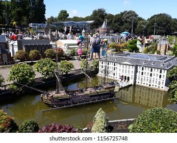17-July 2018. Miniature attraction park Madurodam in The Hague, Netherlands, South Holland, Europe. Amsterdam Naval Museum.
