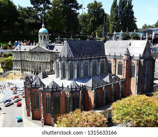 17-July 2018. Miniature park Madurodam in The Hague, Netherlands, South Holland, Europe. Miniature of Royal Palace, New Church and The National Monument in Dam square, Amsterdam.