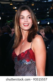 """17JUN98:  Supermodel CINDY CRAWFORD at premiere of George Clooney's new movie """"Out of Sight,"""" at Universal Studios, Hollywood."""