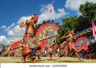 17th August, 2018. Sleman Yogyakarta.Jathilan/Kuda lumping dance performances.  Jathilan/Kuda Lumping is a traditional dance from Java.