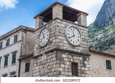 17th century clock tower on the Oruzja main square of Old Town in Kotor, Montenegro