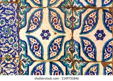 17th century Ottoman Turkish antique handmade tile motif  from 1663 New Mosque ( Yeni Cami ), Istanbul, Turkey