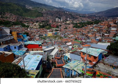 17TH DEC 2014, MEDELLIN, COLOMBIA - the Medellin escalators in the poor Comuna 13 represent the transformation the city has experienced from the most violent city on Earth to the most innovative.