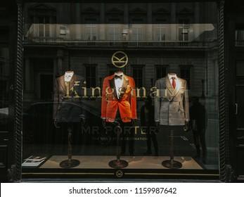 17th december 2017,United Kingdom,London.Kingsman, Mathew Vaughn's Secret Agent frilm franchise, has opened a pop-up shop with Mr Porter at 4 St James Street.The Kingsman store.