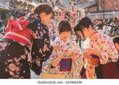 17th march 2016 : Japanese girl wearing Kimono dress in Kiyomizu-dera temple Kyoto province : Japan