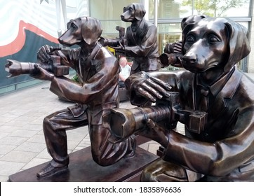 17th September 2020, Dublin, Ireland. Paparazzi Dogs with Cameras bronze statues designed by artists Gillie and Marc Schattner outside the entrance to Dundrum Shopping Centre in South Dublin.