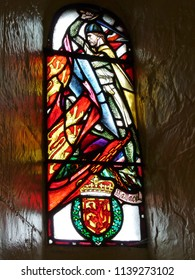 18 august 2009, Stirling (Scotland): Glass window with William Wallace and the royal flag of Scotland
