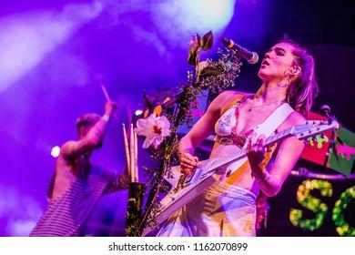18 AUGUST 2018, A CAMPINGFLIGHT TO LOWLANDS PARADISE FESTIVAL, BIDDINGHUIZEN THE NETHERLANDS. Concert of Sofi Tukker