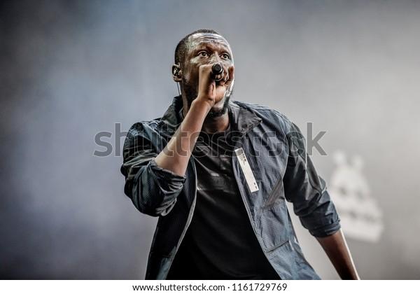 18 AUGUST 2018, A CAMPINGFLIGHT TO LOWLANDS PARADISE FESTIVAL, BIDDINGHUIZEN THE NETHERLANDS. Concert of Stormzy