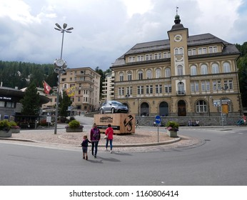 18 august 2018-saintz moritz-suisse-View of the main square of Saint Moritz, a charming town located in Switzerland