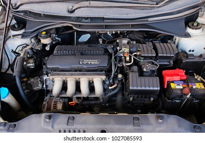 18 february 2018 at chonburi of thailand, engine interior of a car