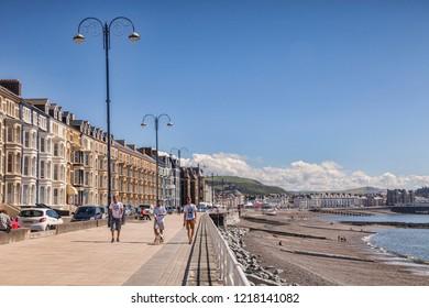 18 July 2016: Aberystwyth, Ceredigion, Wales, UK -  promenade and beach.