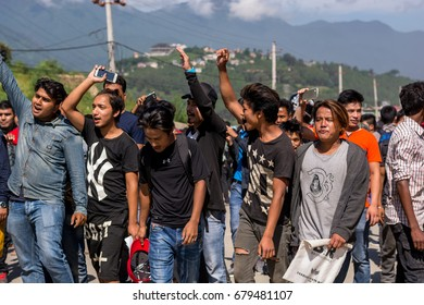 18 July 2017: Kathmandu Nepal, protestors seize the road after no process from official in driving licence department