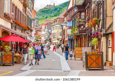 18 June 2012. Ribeauville  village with colorful traditional half-timbered french houses, Alsace, France