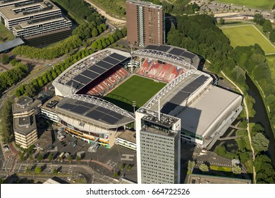 18 June 2017, Utrecht, Holland. Aerial view of Socces Arena Galgenwaard Stadion. Since spring 2017 the stadium has solar panels over the complete roofing. The UEFA Women's Euro 2017 is being held here