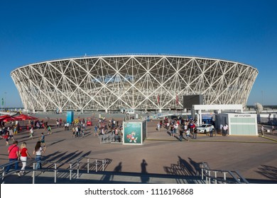 18 June 2018, Volgograd, Russia, New football stadium Volgograd Arena, built for FIFA World Cup 2018, before the first football match England-Tunisia. View from the main entrance.
