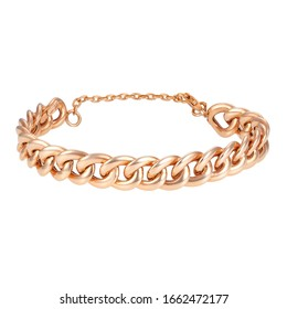 18 Karat Rose Gold Chain Bracelet Isolated on White. Linked-Chain Design Golden Jewellery. Wristband Accessories. Precious Metal Jewelry. Women's & Men's Link Bracelet with Lobster Claw Clasp