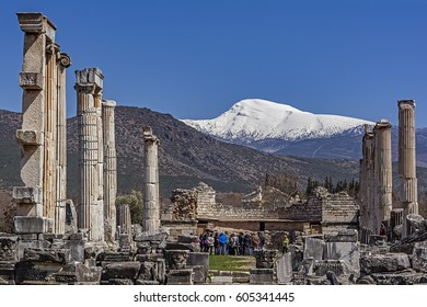 18 March 2017, Aydin, Karacasu, Turkey, Aphrodisias Ancient City (Columns from the Temple of Aphrodite and snowy mountain view)