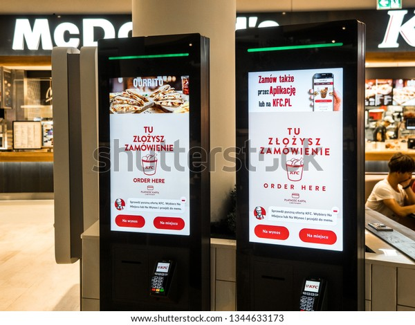 18 March 2019, Mcdonalds, Posnania, Poznan, Poland, Self-ordering and self payment kiosk for fast food chains, restaurants and retailers. Floor standing and wall interactive kiosk