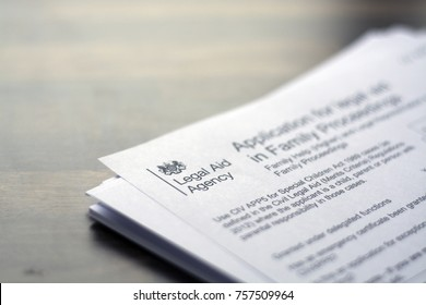 18 November 2017, Royston UK - An application form for legal aid with the logo of the legal aid agency in focus (Illustrative editorial)