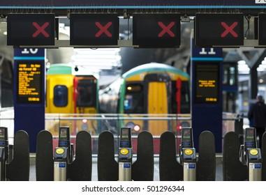 18 OCT 2016, LONDON, UK - Closed rail barriers at London Bridge railway station