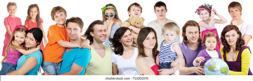 18 people - children, happy families pose isolated on white, collage with 14 models