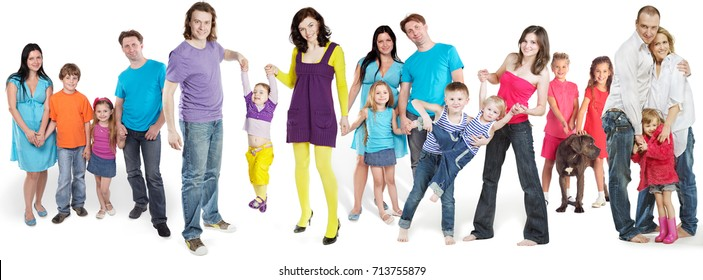 18 people - happy families pose isolated on white, collage with 15 models