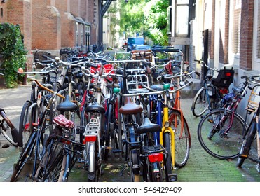18 sept 2016. Amsterdam. Netherlands. Large amounts of Bicycles at docking stands in Amsterdam during the day.