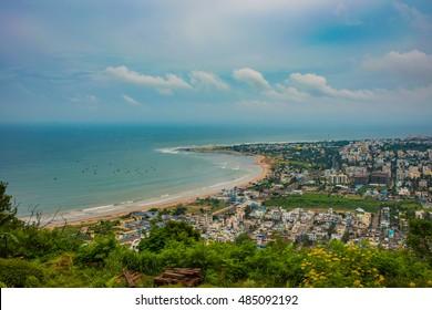 18 September 2016,Visakhapatnam India:Beach and City Travel Destination Vacation Tropical Concept