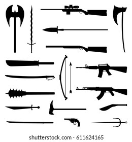 18 weapon icon. Medieval and modern. Flat Illustration