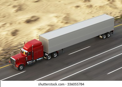18 Wheel Truck on the road during the day. Top View.