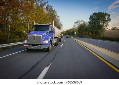 18 wheeler tanker truck on highway