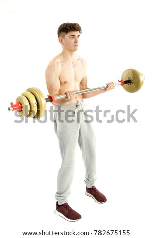 18 year old teenage boy using a barbell