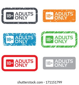18 years old sign. Adults content only icon. Retro Stamps and Badges.