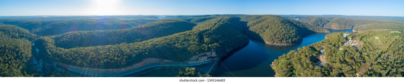 180 aerial panorama of Lake Nepean Dam and forested hills. Bargo, New South Wales, Australia