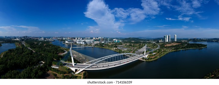 180 degree Aerial Panorama view of Outskirt Putrajaya City from Cyberjaya