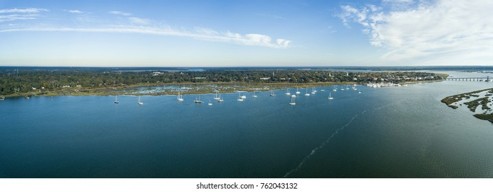 180 degree aerial view of Beaufort, South Carolina and surrounding harbor.