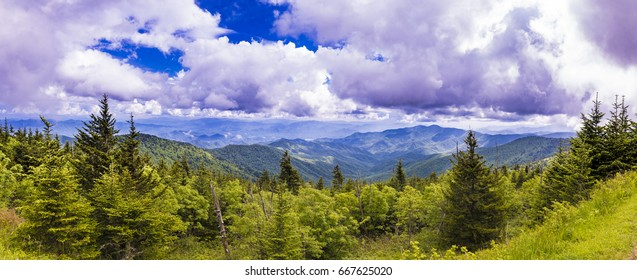 180 degree panorama of Appalacian Mountains of North Carolina and Tennessee.