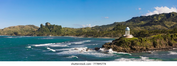 180 degree panorama of beaches and mountains in the Dominican Republic near Puerto Plata.