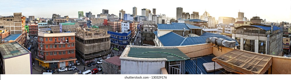 180 degree panorama of Nairobi Kenya taken from rooftop.